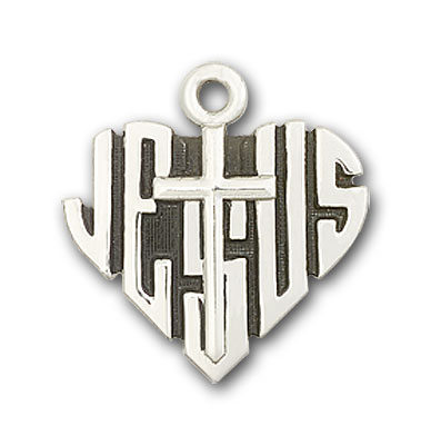 Sterling Silver Heart of Jesus / Cross Pendant