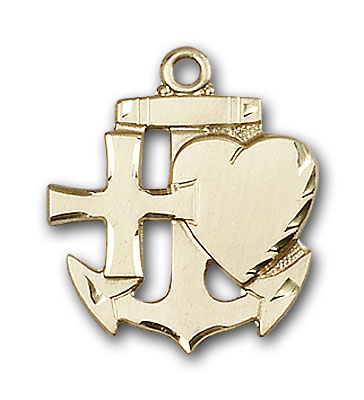 14K Gold Faith, Hope & Charity Pendant