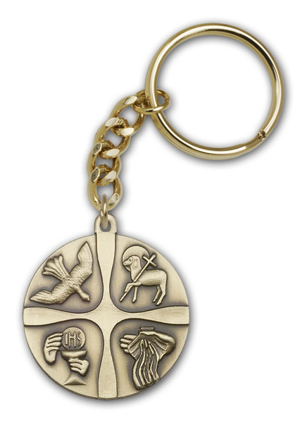Antique Gold Christian Life Keychain