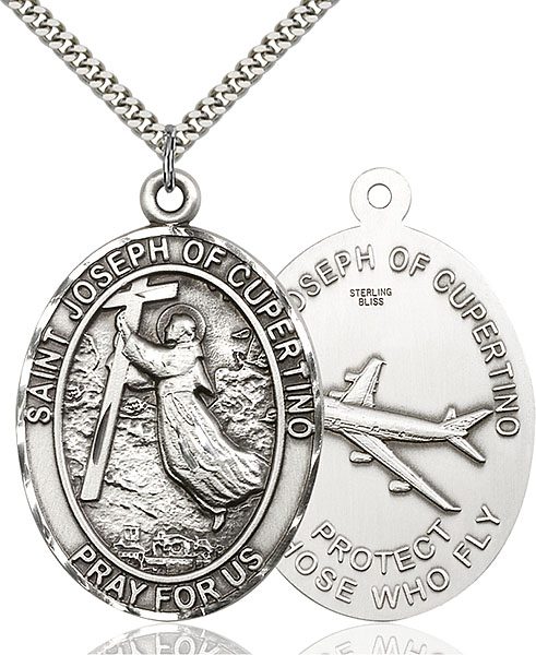 Sterling Silver St. Joseph of Cupetino Airplane Pendant