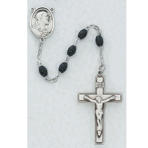 4X6MM Black Glass Rosary