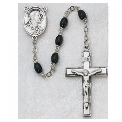 Sterling Silver 4X6MM Black Glass Rosary
