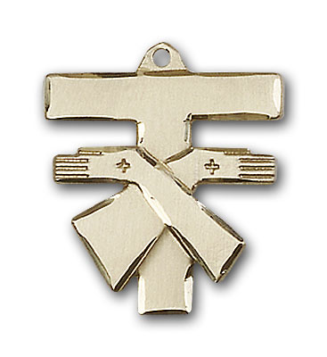 14K Gold Franciscan Cross Pendant
