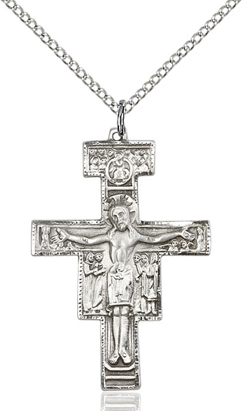 Sterling Silver San Damiano Crucifix Pendant