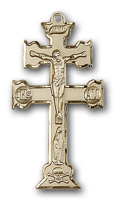 14K Gold Caravaca Crucifix Pendant