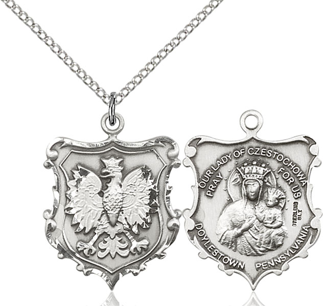 Sterling Silver Our Lady of Czestochowa / English Falco