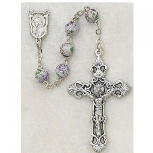 7MM White Cloissonne Rosary