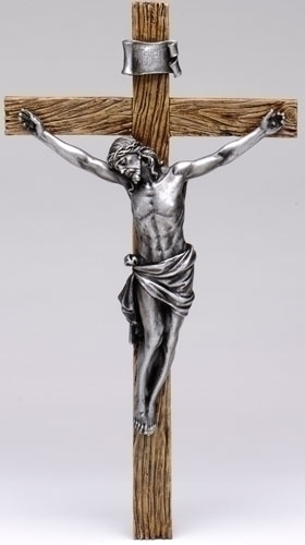 20-inch Antiqued Silver Crucifix