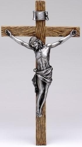 20-inch Antiqued Silver Crucifix