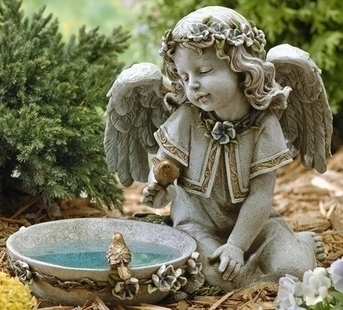 11-inch Solar Angel Bird Bath