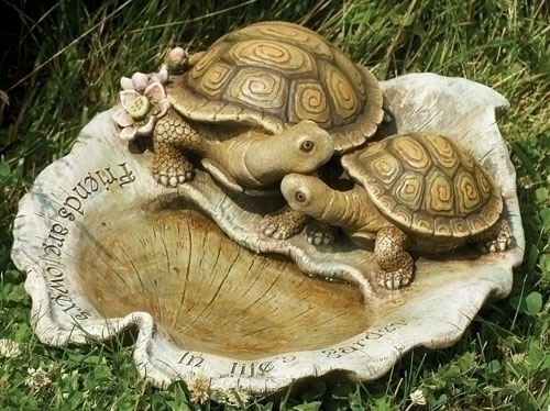 6-inch Turtle On Leaf Birdbath