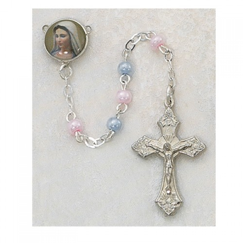3MM Pink And Blue Rosary