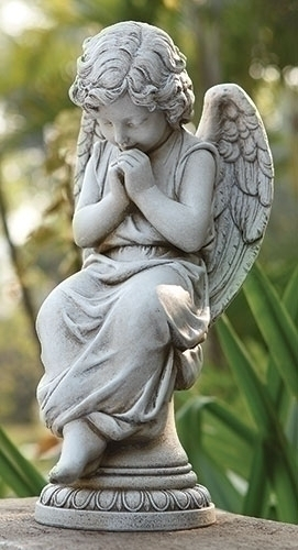 17-inch H Seated Angel On Pedestal
