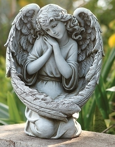 13-inch H Angel With Bird Feeder Wings