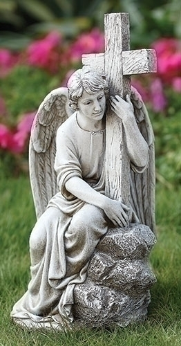 13-inch H Seated Male Angel With Cross