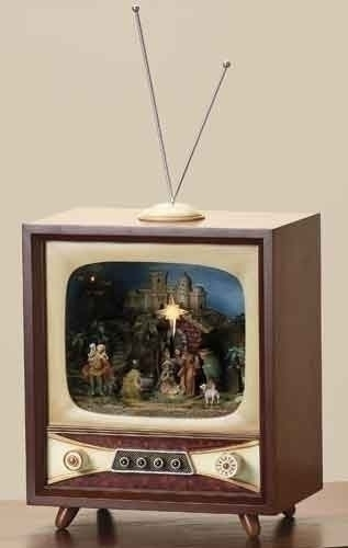 Musical 13.25-inch LED Nativity Tv With