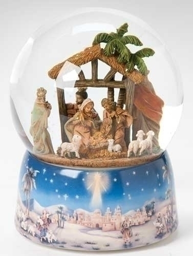 Musical 8-inch LED Nativity Glittrdome