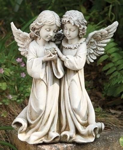 12.25-inch H Angels With Bird