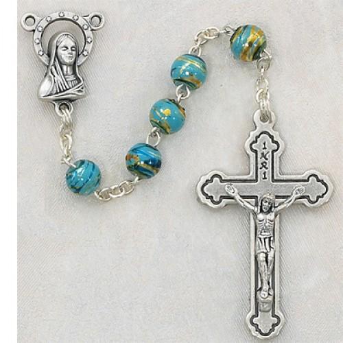 6MM Aqua Cloissonne Rosary