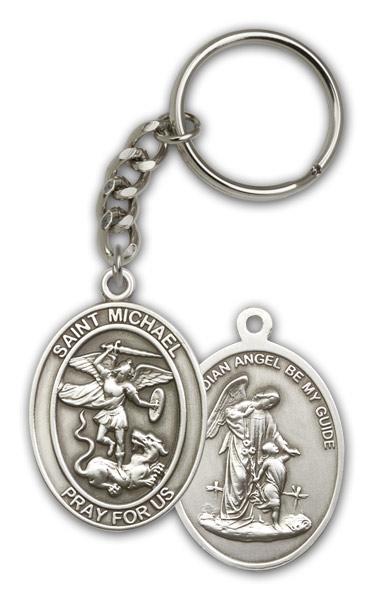 Antique Silver St. Michael the Archangel Keychain