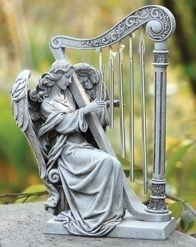 10-inch H Angel With Harp Chimes