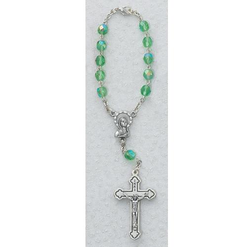 Peridot/Aug Auto Rosary/Card