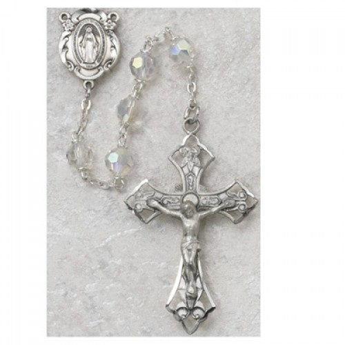 Sterling Silver 6MM Tin Cut Crystal Rosary