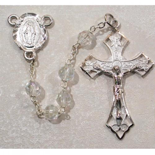 6MM Tin Cut Crystal Rosary