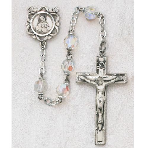 6MM AB Crystal Tin Cut Rosary
