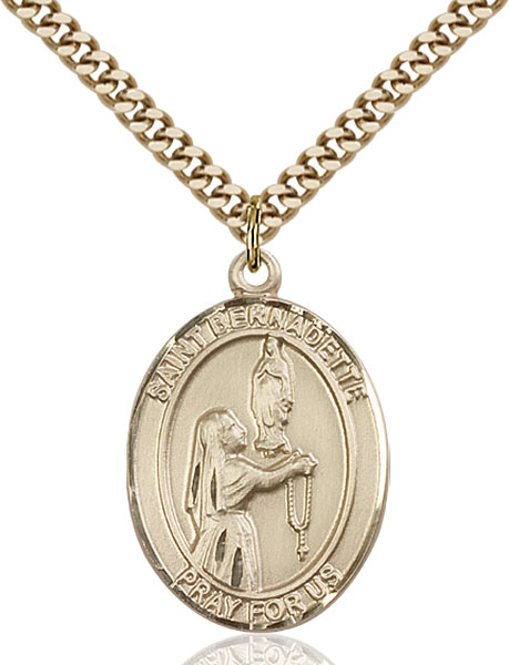 Gold-Filled St. Bernadette Pendant