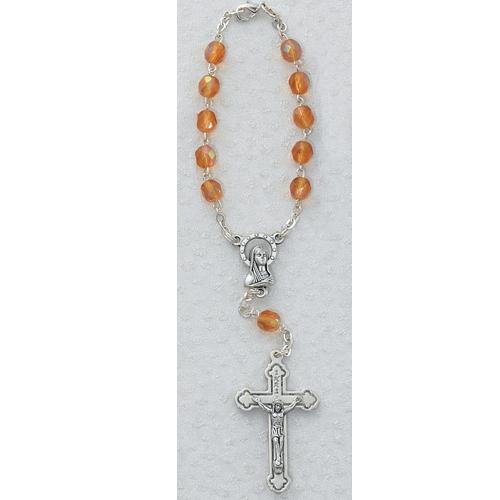 Topaz/Nov Auto Rosary/Carded