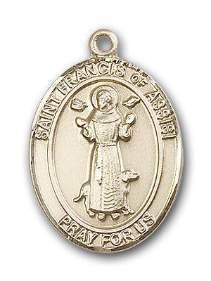 14K Gold St. Francis of Assisi Pendant