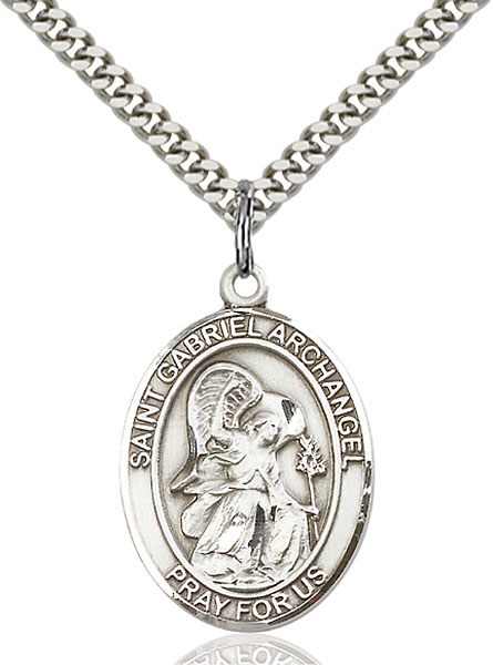 Sterling Silver St. Gabriel the Archangel Pendant