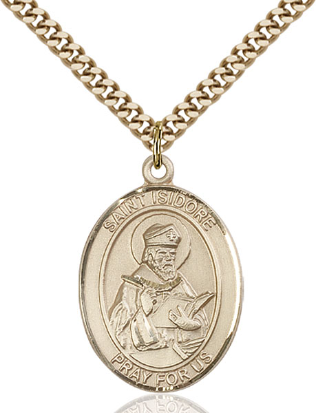 Gold-Filled St. Isidore of Seville Pendant