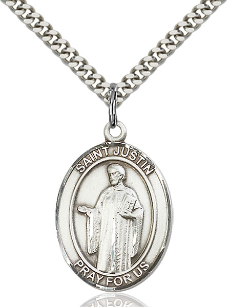 Sterling Silver St. Justin Pendant