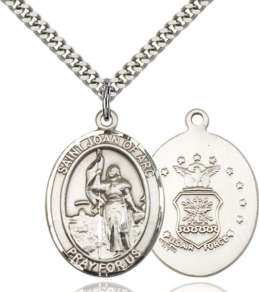 Sterling Silver St. Joan of Arc Air Force Pendan
