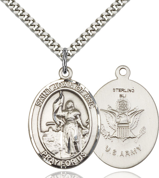 Sterling Silver St. Joan of Arc Army Pendant