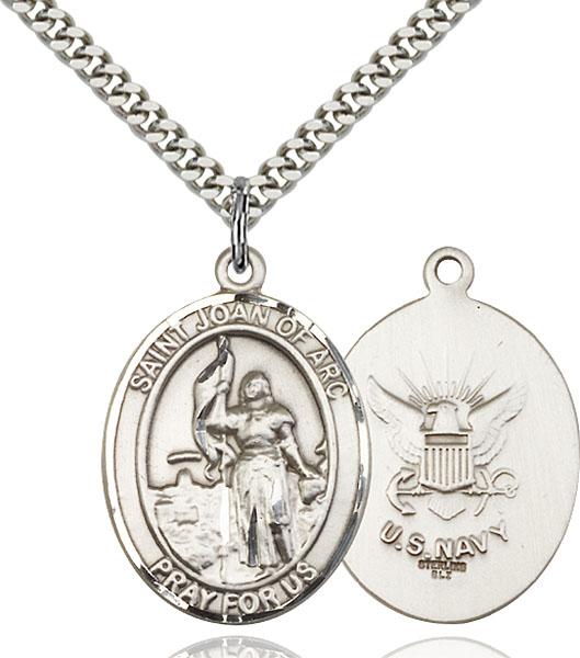 Sterling Silver St. Joan of Arc Navy Pendant