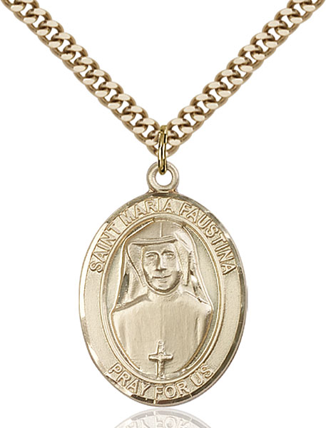 Gold-Filled St. Maria Faustina Pendant