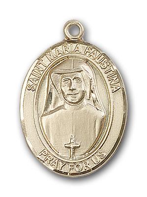 14K Gold St. Maria Faustina Pendant