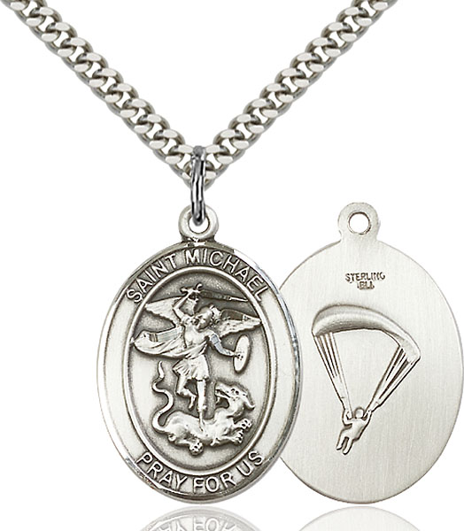Sterling Silver St. Michael Paratrooper Pendant