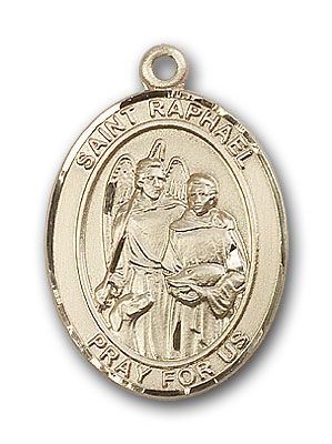 14K Gold St. Raphael the Archangel Pendant