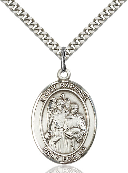 Sterling Silver St. Raphael the Archangel Pendant