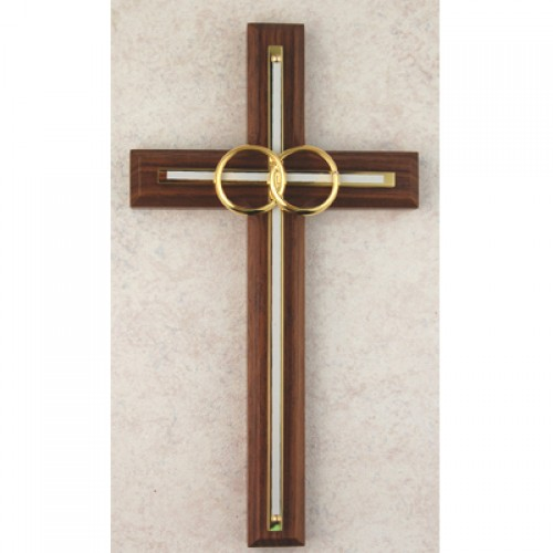 "6 1/2"" Waln/White Wedding Cross"""