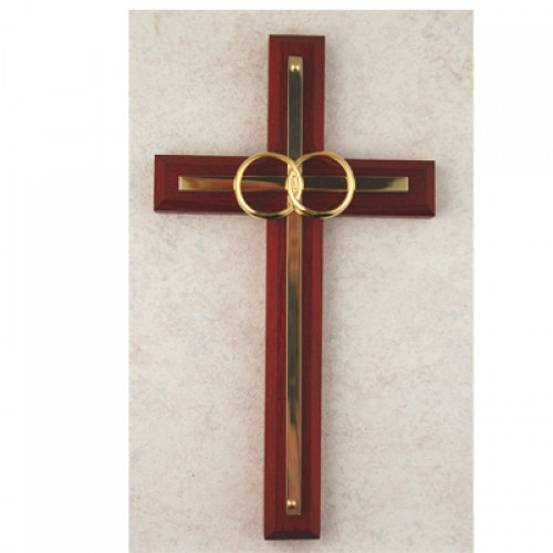 "6 1/2"" Cherry with Sterling Silver Wedding Cross"""