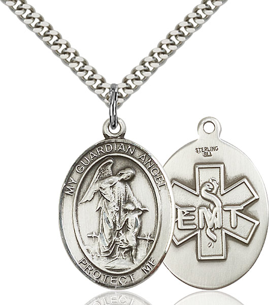 Sterling Silver Guardian Angel Emt Pendant