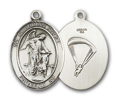 Sterling Silver Guardian Angel Paratrooper Pendant