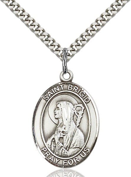 Sterling Silver St. Brigid of Ireland Pendant