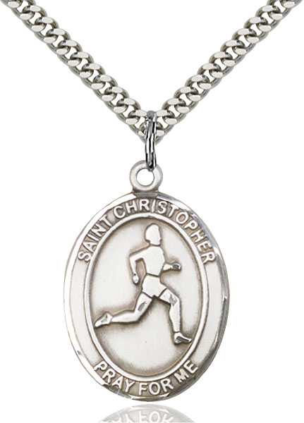 Sterling Silver St. Christopher Track&Field Pendan