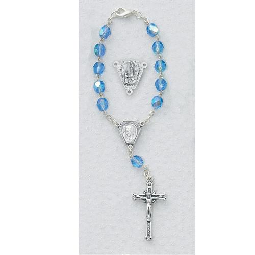 Blue Lourdes Auto Rosary/Card